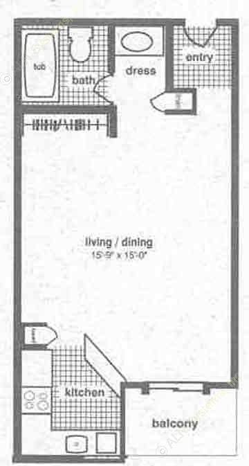 445 sq. ft. EFF floor plan