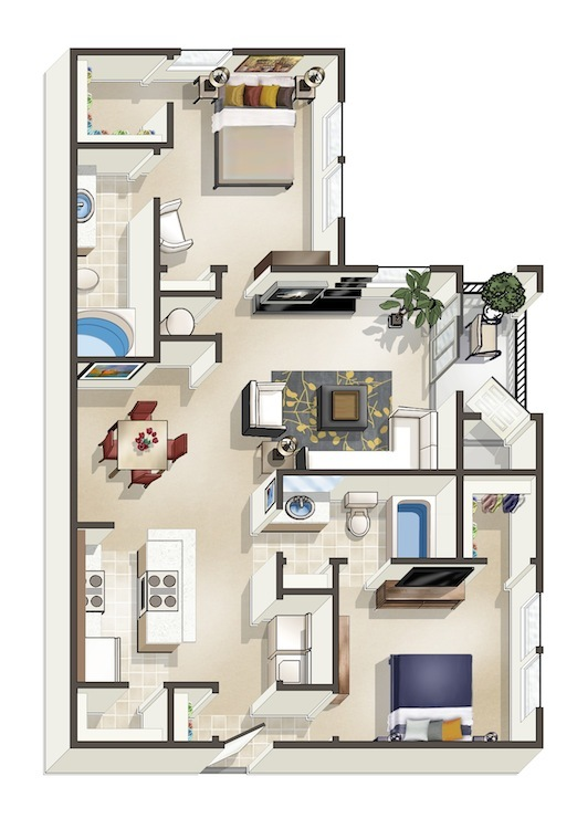 1,122 sq. ft. D floor plan