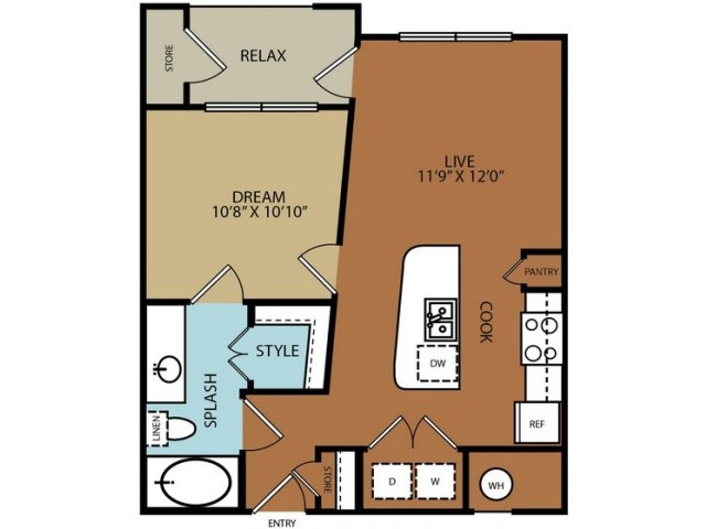 613 sq. ft. A1 floor plan
