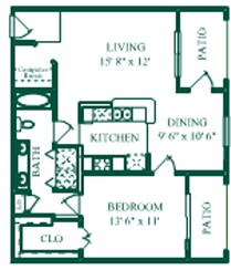 802 sq. ft. Orleans/A3 floor plan