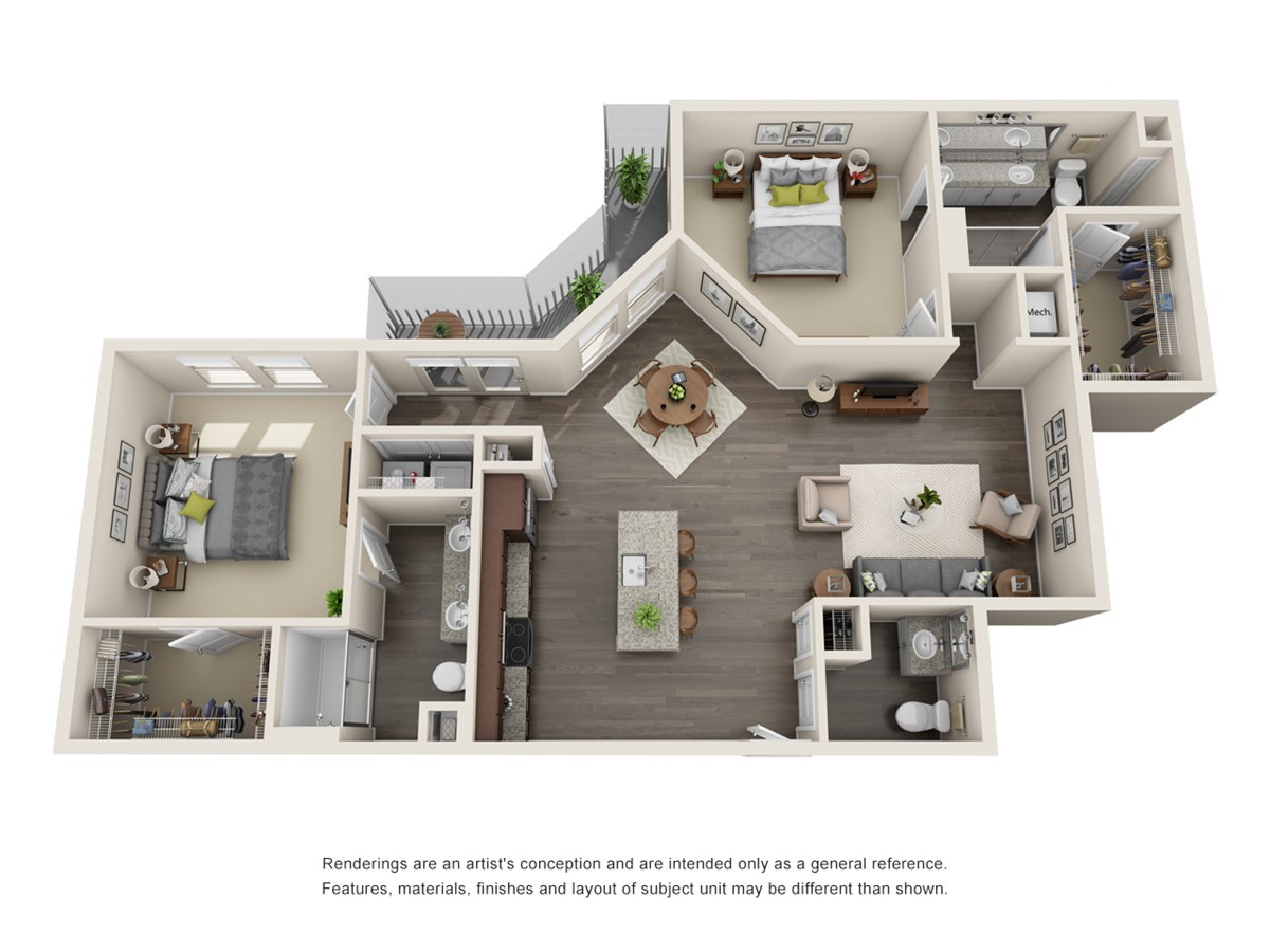 1,253 sq. ft. B5 floor plan