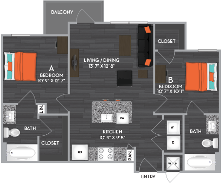 798 sq. ft. to 928 sq. ft. B2 floor plan