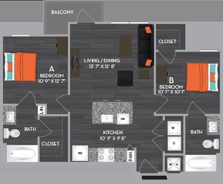 798 sq. ft. to 928 sq. ft. B2 floor plan