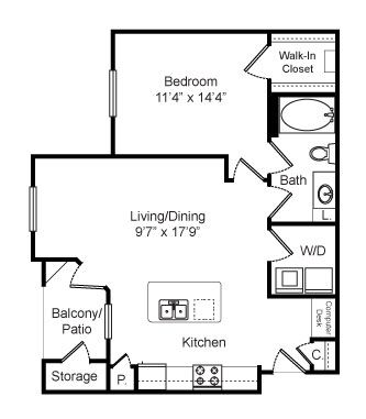 751 sq. ft. Brookfield floor plan