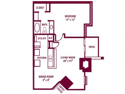 700 sq. ft. Mountain Laurel floor plan