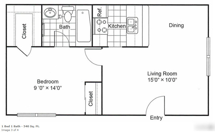 540 sq. ft. floor plan