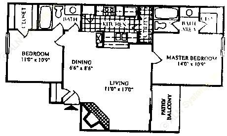 905 sq. ft. B-1/60% floor plan