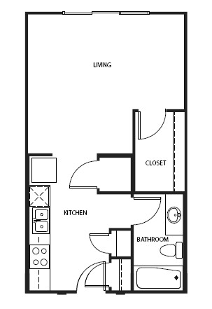497 sq. ft. to 602 sq. ft. E floor plan