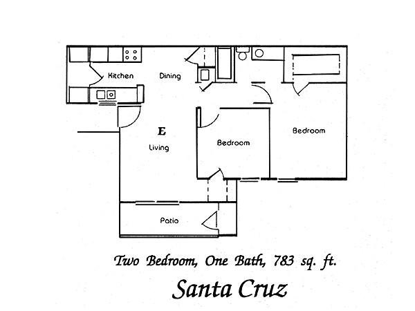 783 sq. ft. Santa Cruz floor plan