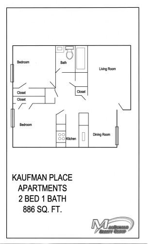886 sq. ft. B1 floor plan