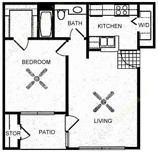 613 sq. ft. COMAL floor plan