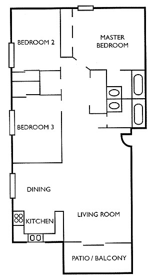 1,115 sq. ft. CW floor plan