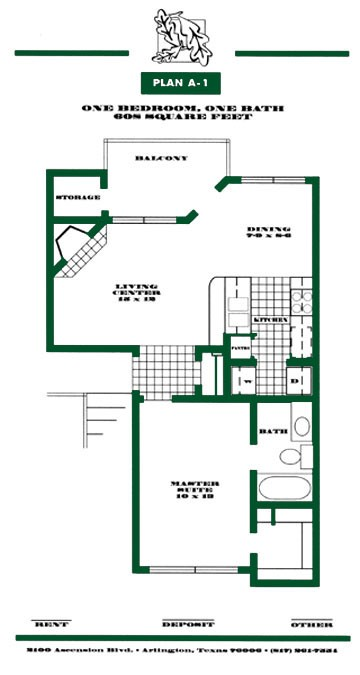 608 sq. ft. A1 PH I floor plan