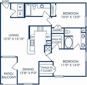 1,114 sq. ft. E1 floor plan
