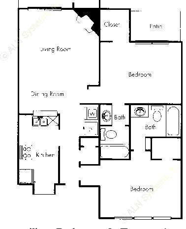 690 sq. ft. B1 floor plan