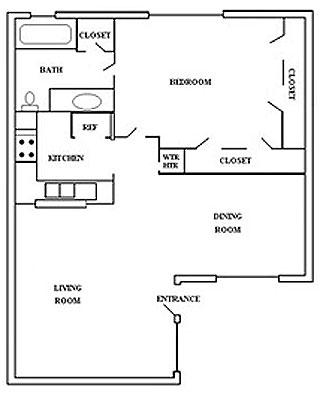 678 sq. ft. 1A floor plan