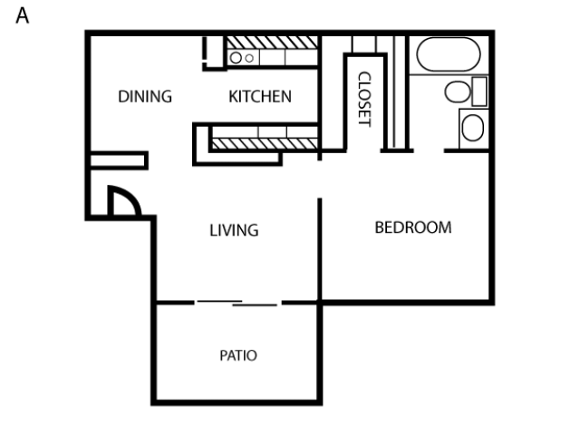 546 sq. ft. A floor plan
