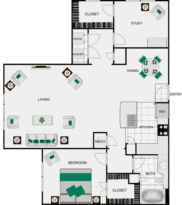 1,145 sq. ft. A8 floor plan
