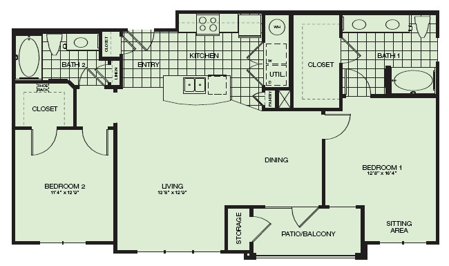 1,156 sq. ft. Riviera floor plan
