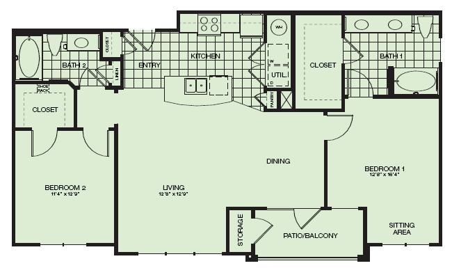 1,156 sq. ft. Riviera floor plan