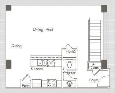 1,226 sq. ft. P12 floor plan