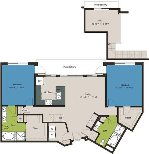 1,670 sq. ft. B1-L1 floor plan
