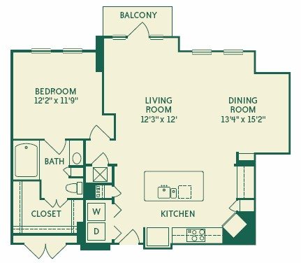 986 sq. ft. 2A2D floor plan