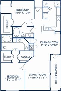 1,211 sq. ft. G floor plan
