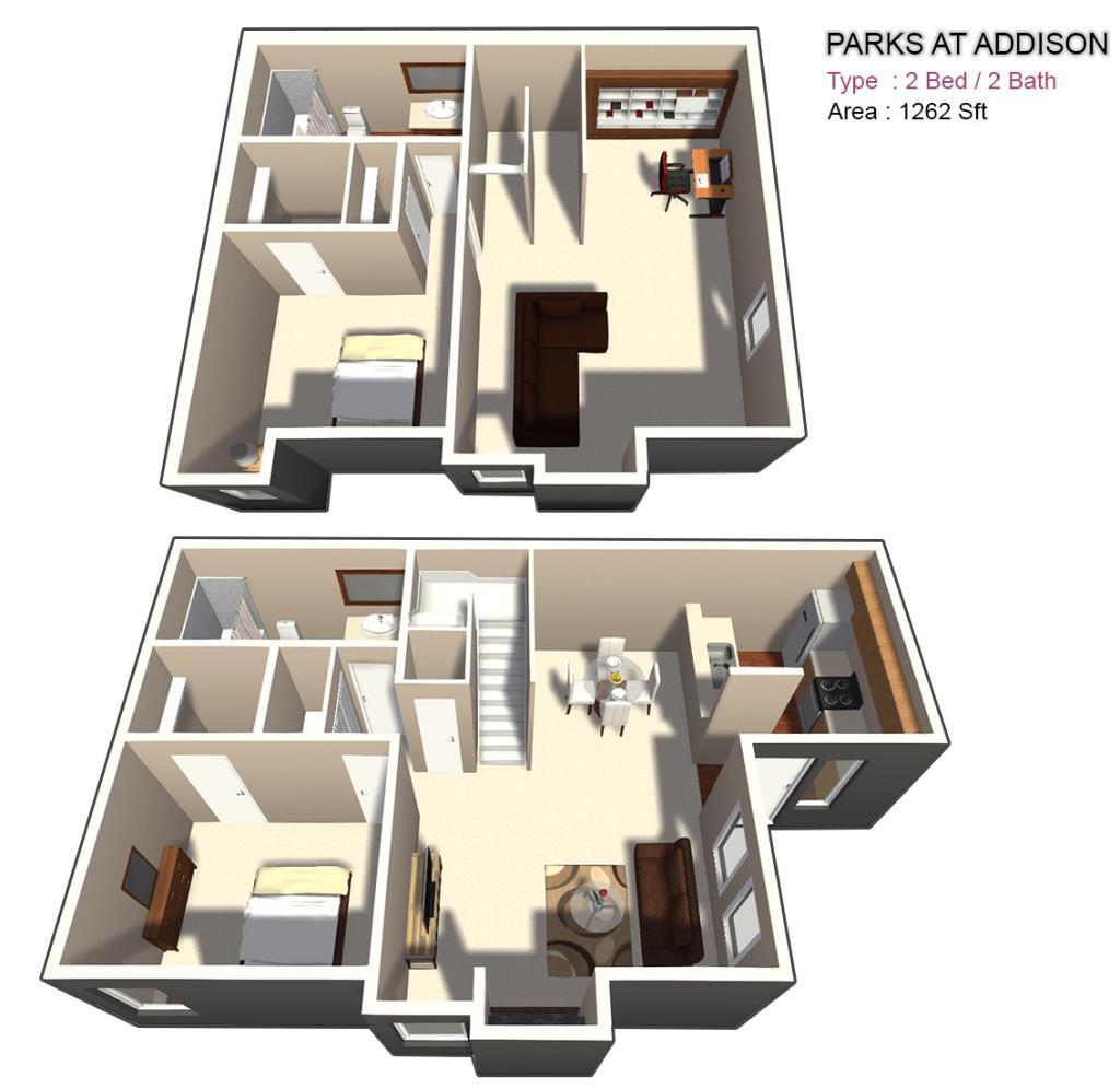 1,262 sq. ft. FT floor plan