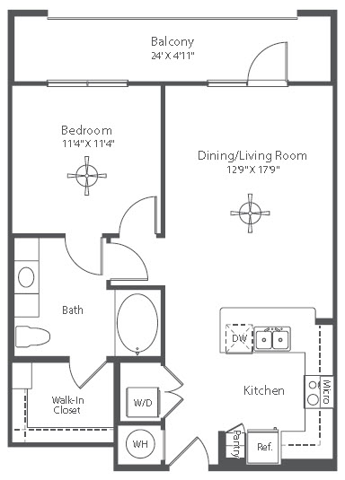 726 sq. ft. to 745 sq. ft. A4 floor plan
