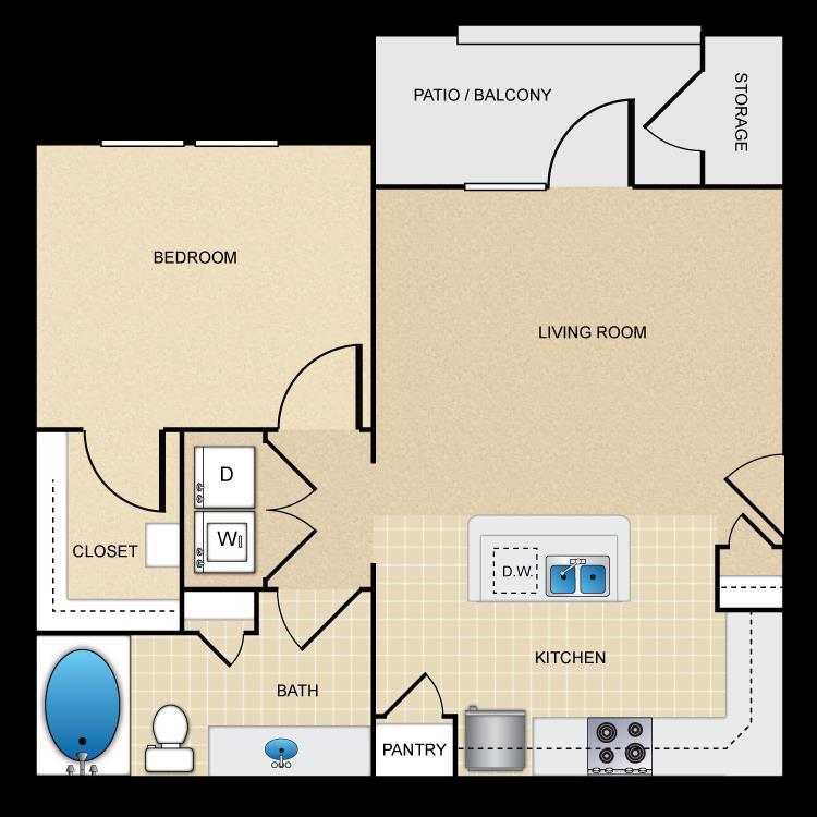 650 sq. ft. A1 floor plan