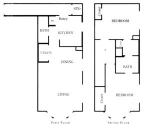 1,031 sq. ft. B2A/60% floor plan