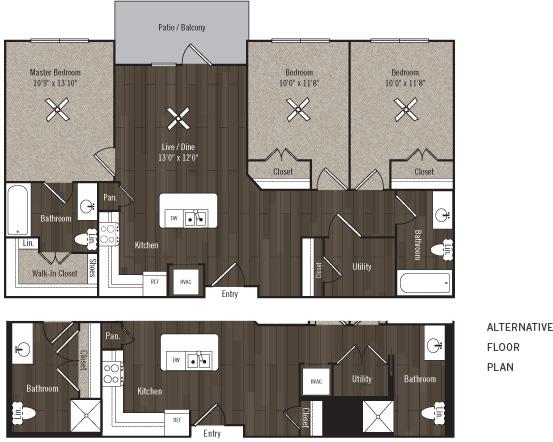 1,141 sq. ft. C1/Ascend/60% floor plan