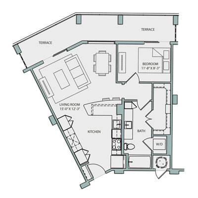 787 sq. ft. A3.1 floor plan