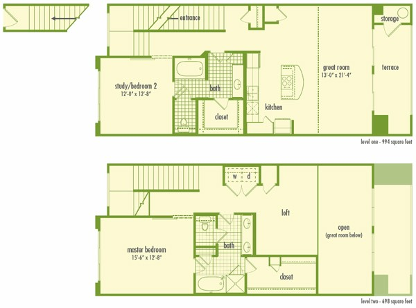 1,692 sq. ft. L2 floor plan