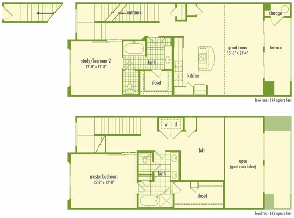 1,692 sq. ft. L2 floor plan