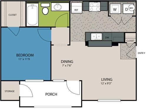 625 sq. ft. A1 floor plan
