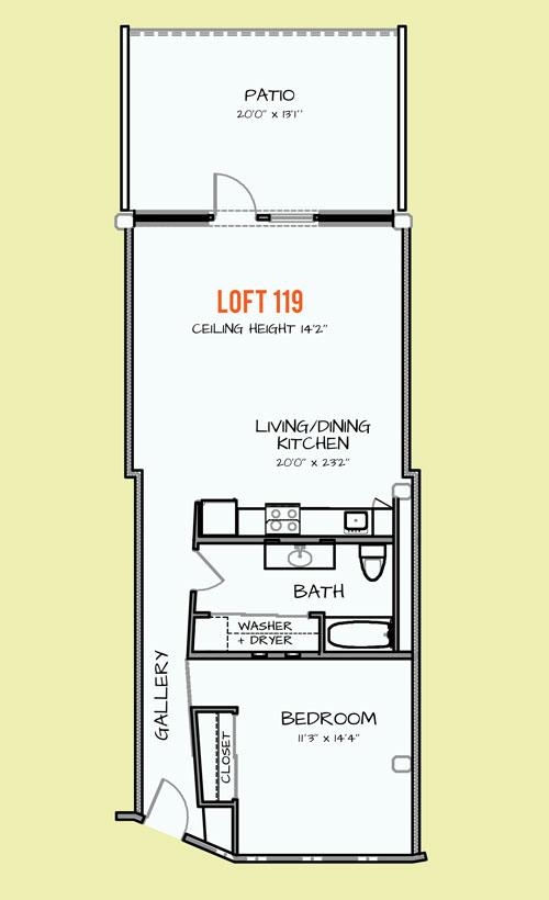 800 sq. ft. 310/408 floor plan