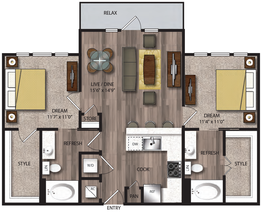 1,002 sq. ft. B8.1 floor plan