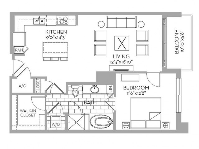 871 sq. ft. Douglas(A.4) floor plan