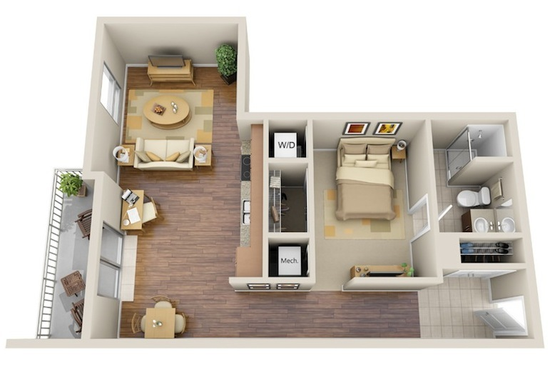 689 sq. ft. A2 floor plan