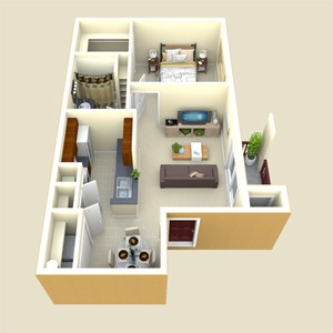 580 sq. ft. Brazos floor plan