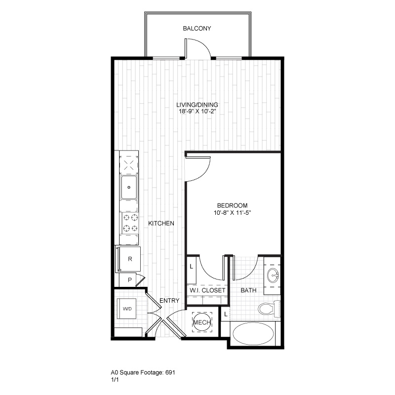 691 sq. ft. A0 floor plan