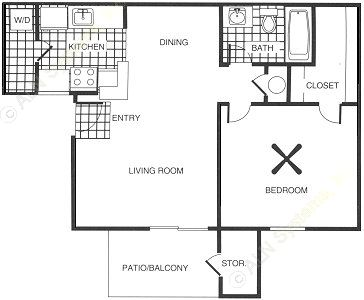 624 sq. ft. floor plan