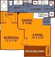 621 sq. ft. ELM/A1 floor plan