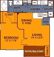 621 sq. ft. ELM/A1 floor plan