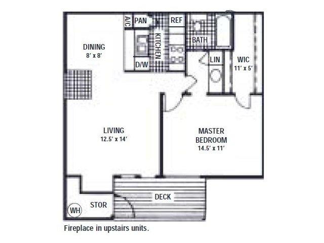 678 sq. ft. B floor plan