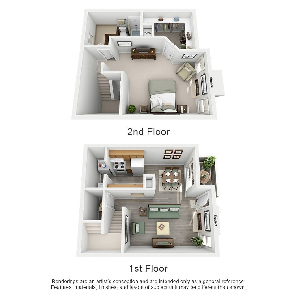 730 sq. ft. B1 - Laguna floor plan