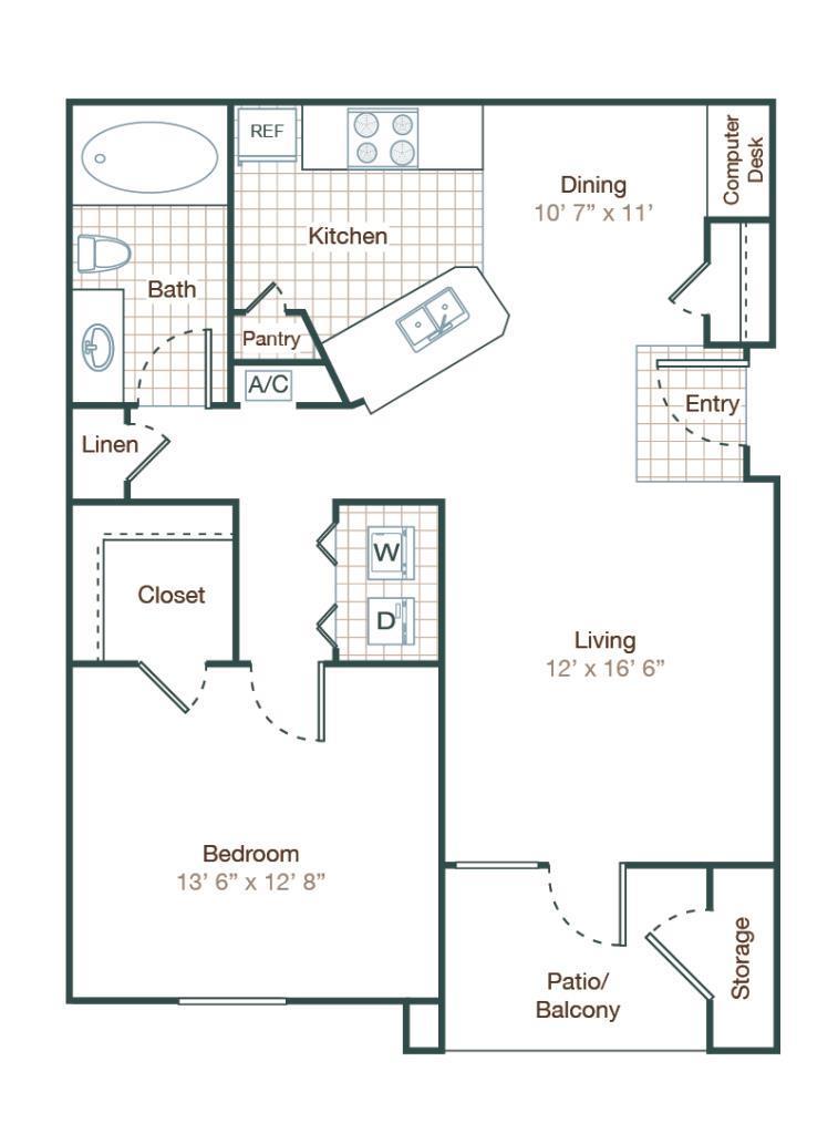 791 sq. ft. A3 floor plan