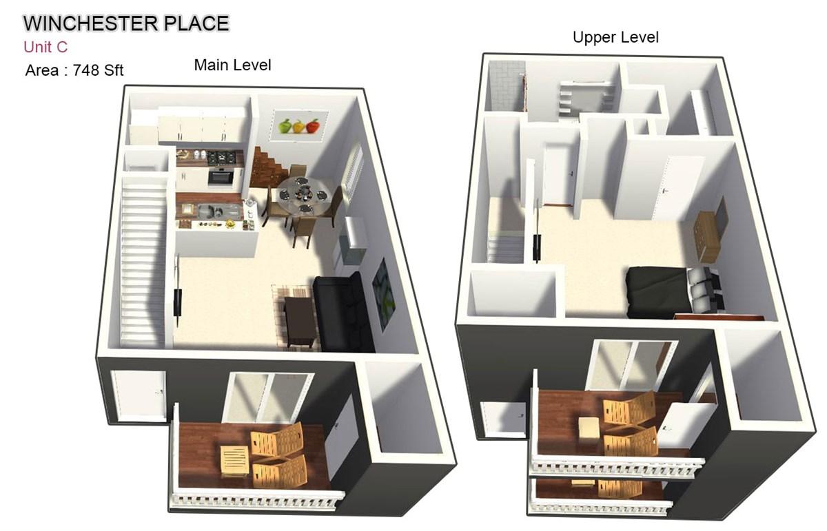 748 sq. ft. C floor plan